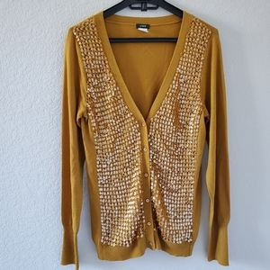 J Crew mustard sequined stitch wool cardigan